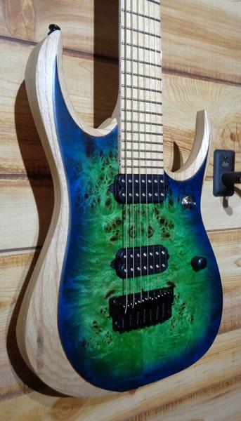 Ibanez Iron Label RGDIX7MPB 7 String Electric Guitar Surreal Blue Burst